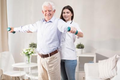 senior man and woman exercising